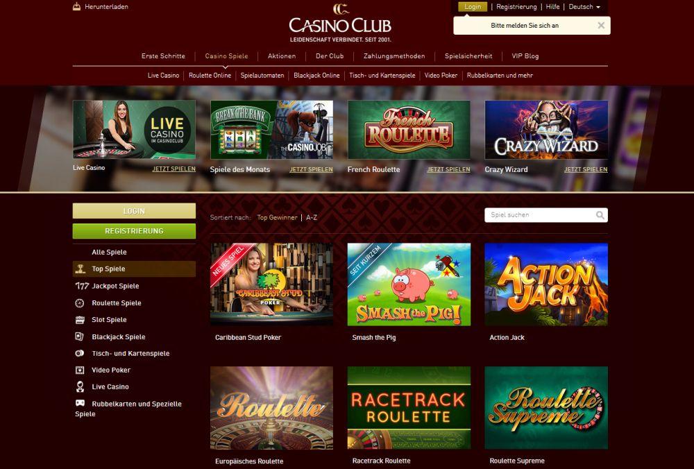 Casino Club.Com Tischeinstellung